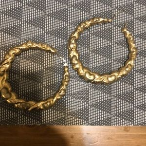 Authentic gold bamboo hoop earrings